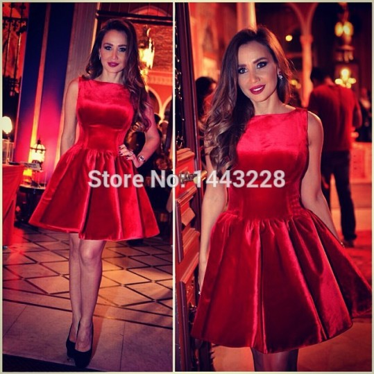 Short-Velvet-Bateau-Neckline-Elegant-Red-Prom-Dress-Graduation-Homecoming-Party-Holiday-Dress-vestido-de-festa